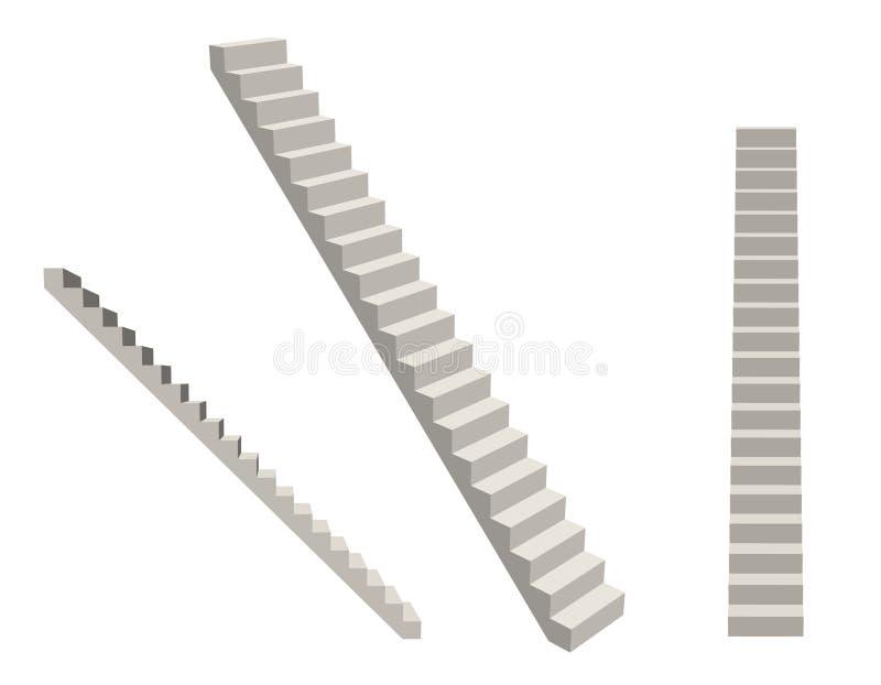 楼梯 背景查出的白色 3d例证向量 向量例证