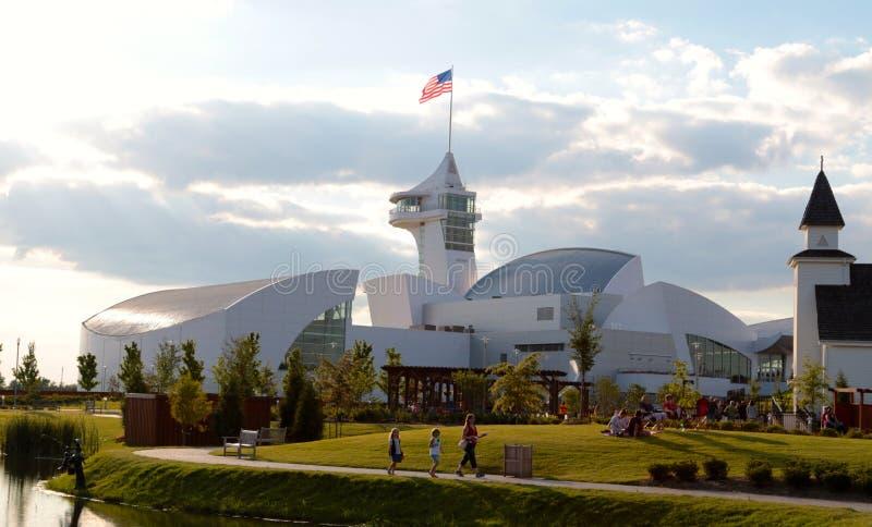 主楼的背面图在美国,联合城市田纳西的发现公园的 免版税库存图片