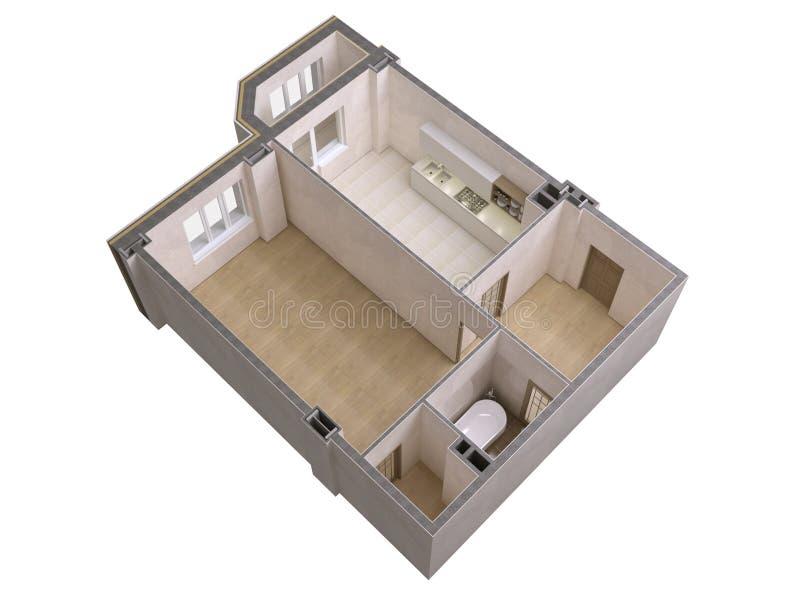 楼面布置图顶视图 在白色背景隔绝的公寓内部 3d回报 皇族释放例证