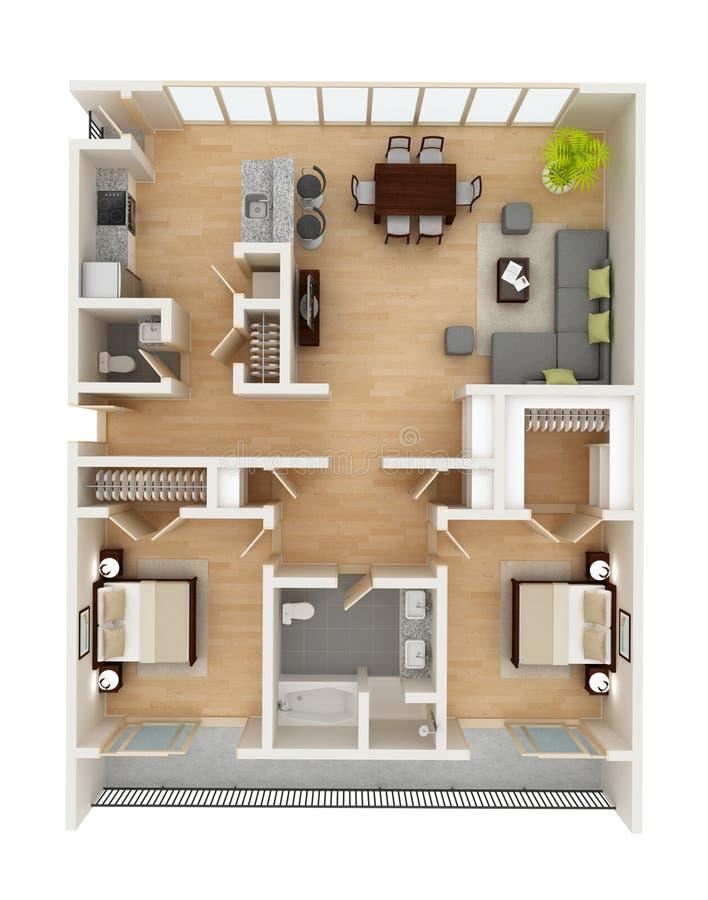 楼面布置图顶视图 免版税库存图片