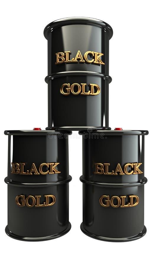 概念三黑色金属油桶 库存例证