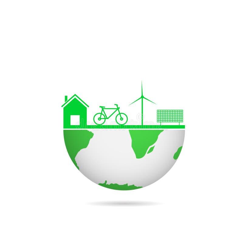 概念下落地球绿色叶子世界 向量例证