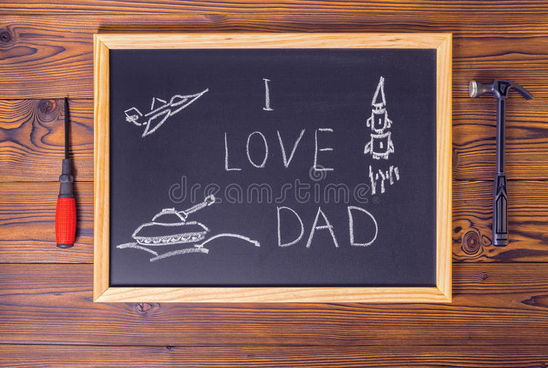 概念与手写的文本的父亲节顶视图我爱Da 库存照片