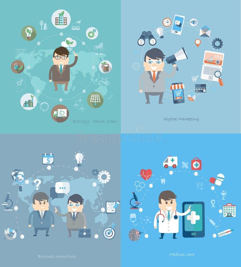 概念为咨询,医学,营销,生态 向量例证
