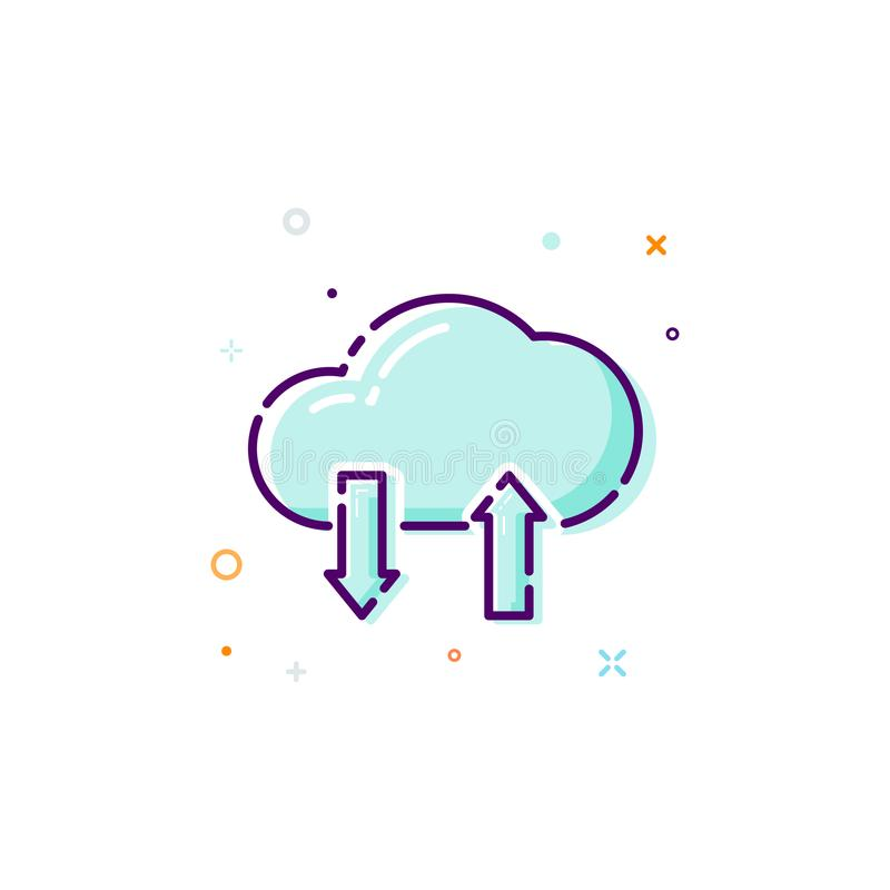 概念云彩象 稀薄的线平的设计元素 数据商店概念 在空白背景查出的向量例证 向量例证