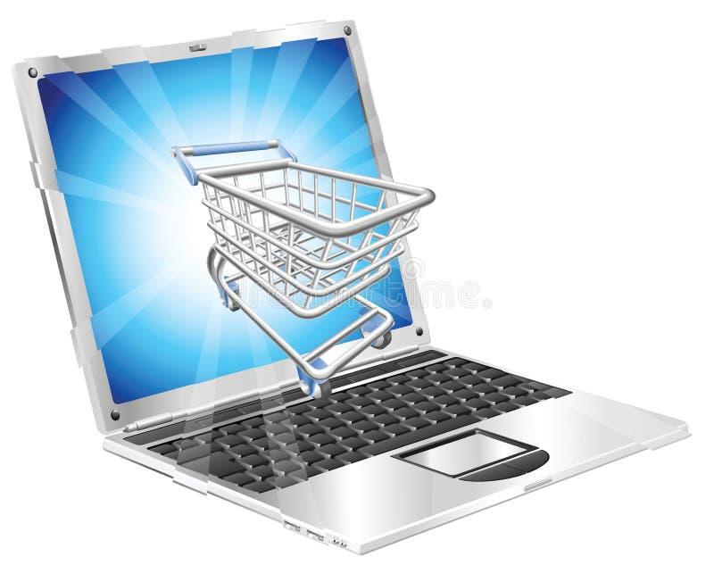 概念互联网膝上型计算机购物 库存例证