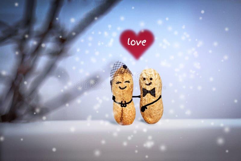 概念亲吻妇女的爱人 婚姻 日期在晚上 由坚果做的创造性的手工制造夫妇 免版税图库摄影