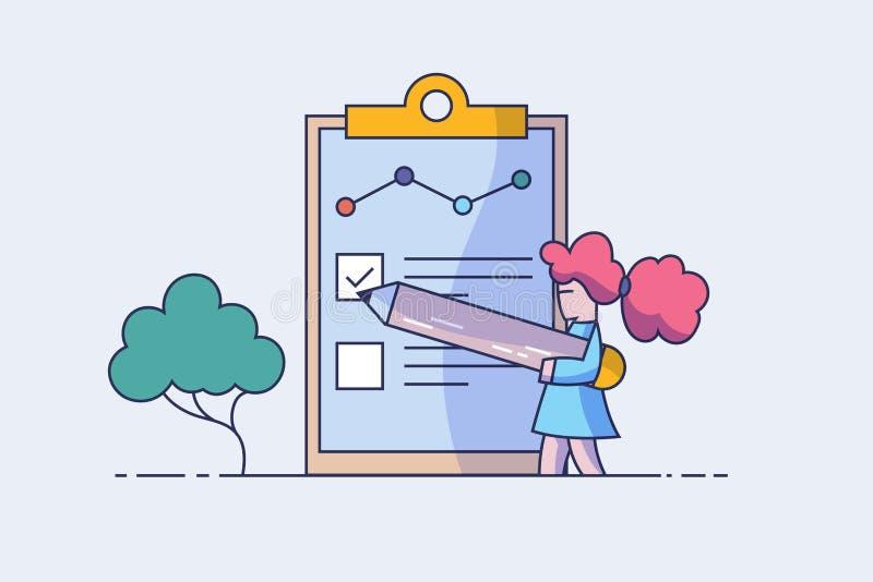 概念人填好表格  就业的申请书 人们为网页的一个工作选择一份简历 向量例证