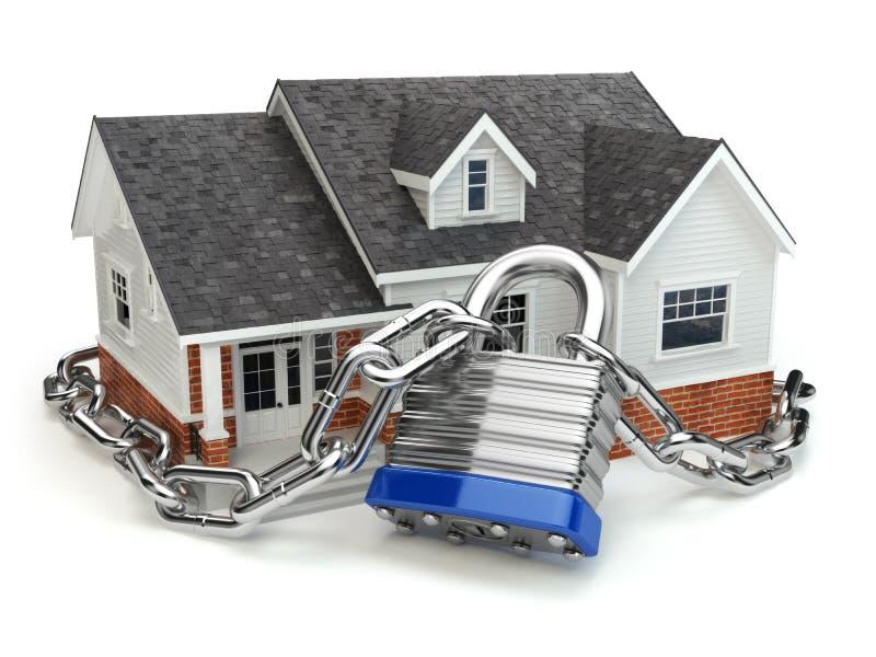 概念住家安全 有锁和链子的议院 库存例证
