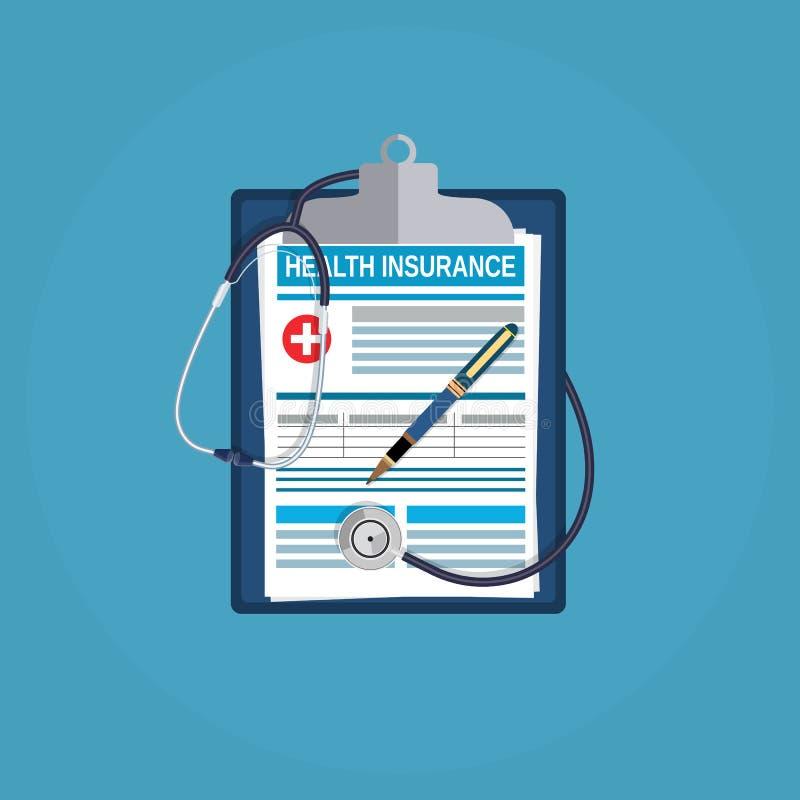 概念健康保险查出在白色 库存例证