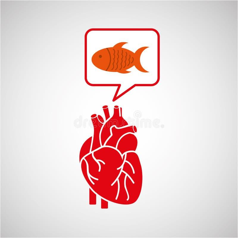 概念健康心脏鱼新象 向量例证
