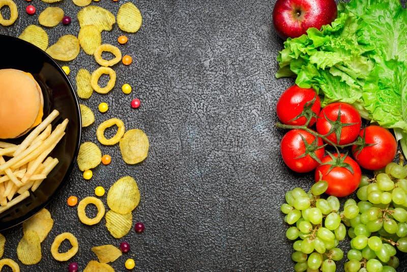 概念健康营养 水果和蔬菜对不健康的fa 图库摄影