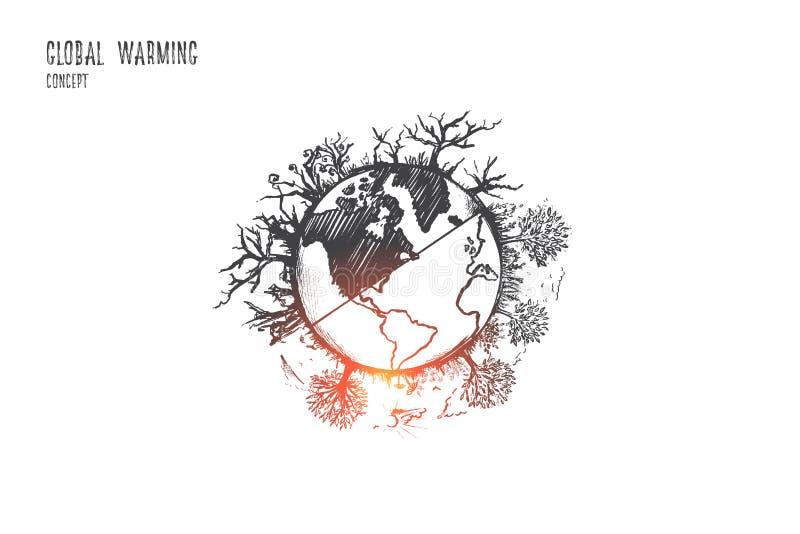 概念全球性变暖 手拉的被隔绝的传染媒介 库存例证