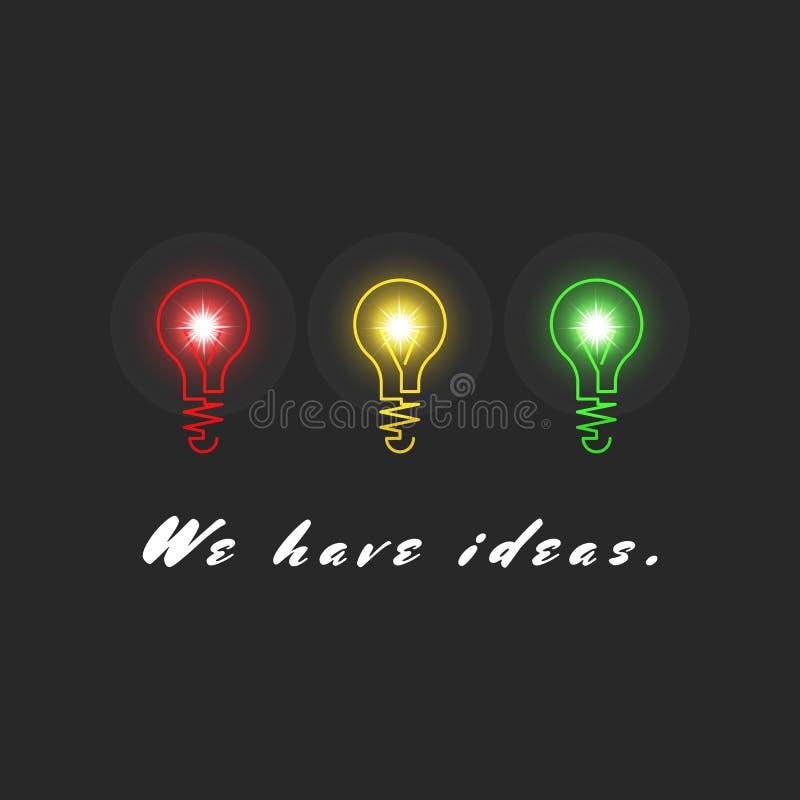 概念创新想法,启发创造性的结果,荡桨三个五颜六色的电灯泡,现实轻的黑背景 皇族释放例证