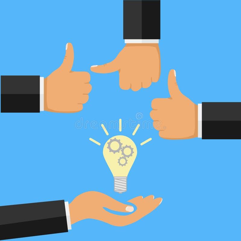 概念创造性的想法 递拿着电灯泡,有赞许的手 向量例证