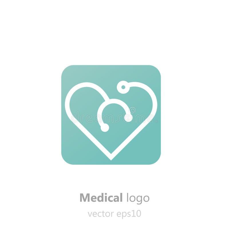 概念医疗商标 以心脏的形式听诊器 诊所、医院或者医生的略写法 向量例证