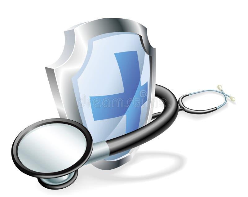 概念医疗盾听诊器 向量例证