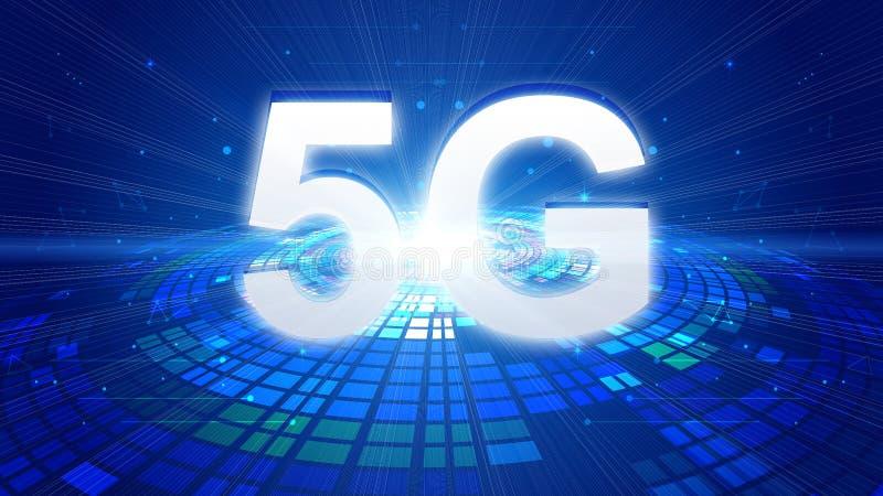 概念和5G通讯技术的迅速发展的创造性的地图 库存例证