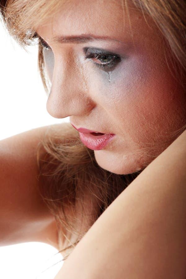 概念哭泣的内衣暴力妇女 库存照片