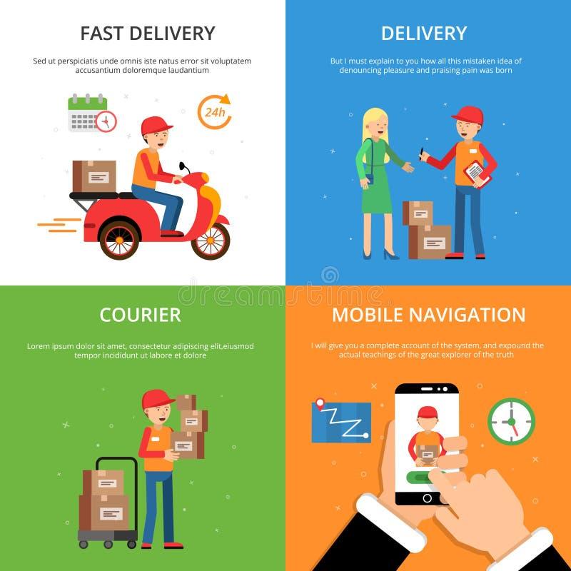概念图片在送货业务题材设置了  顾客和后勤学 向量例证