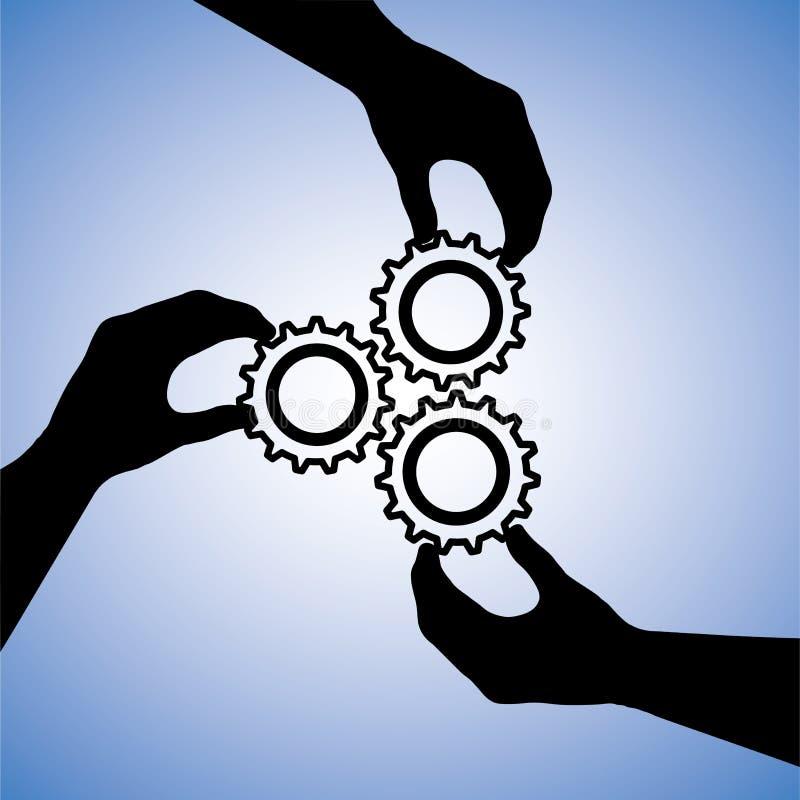 概念图象配合&人合作 向量例证