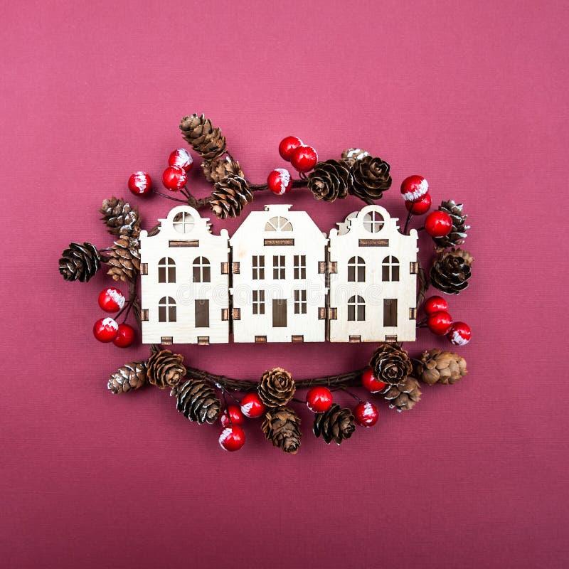 概念圣诞节,新年,冬天在城市 库存照片