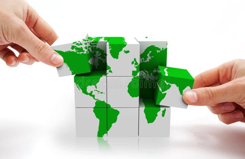 概念多维数据集映射世界 库存图片