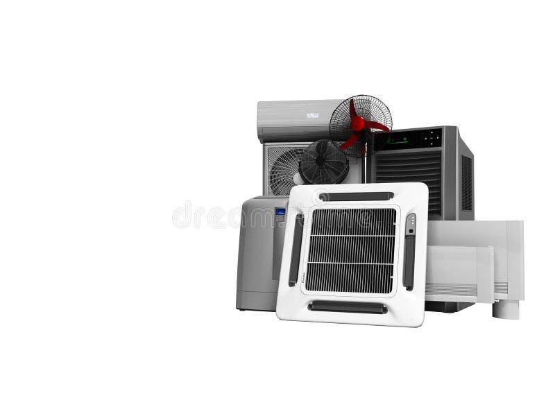 概念套加热和冷却的设备前提3d在白色背景不回报阴影 库存例证