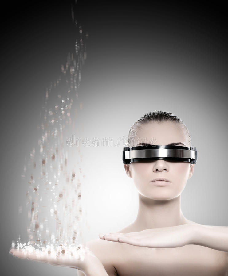 概念女性纳米技术机器人 图库摄影