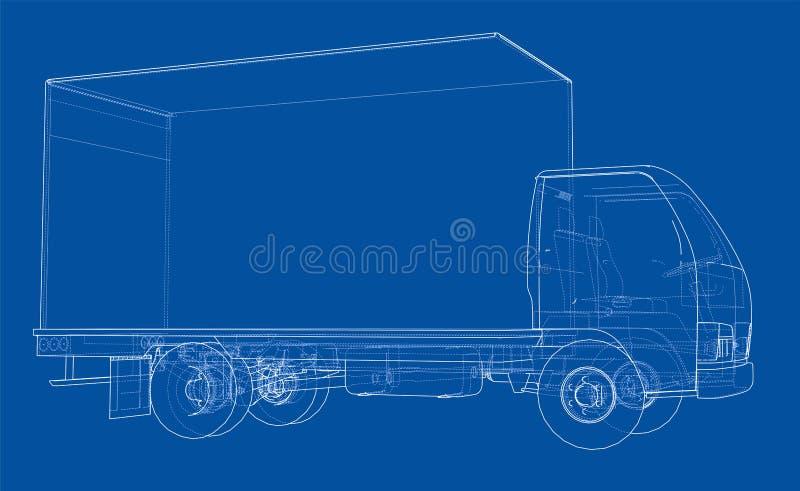 概念微型卡车剪影 库存例证