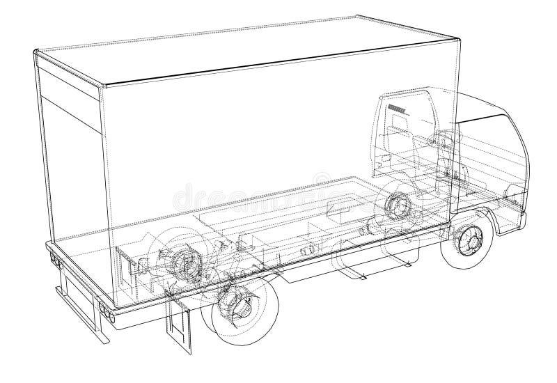 概念微型卡车剪影 向量例证