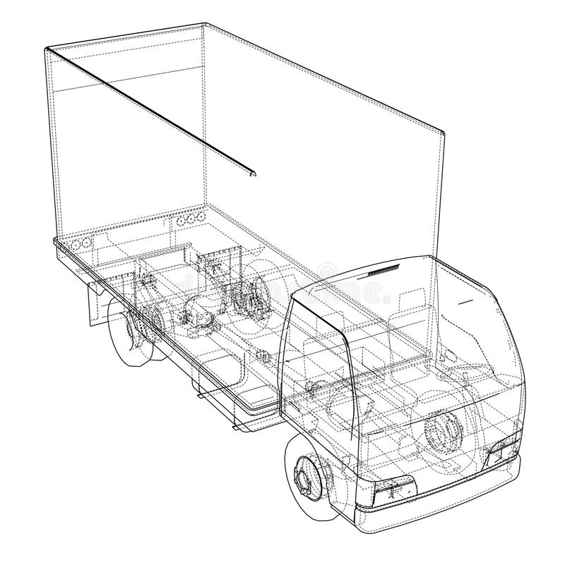 概念微型卡车剪影 皇族释放例证