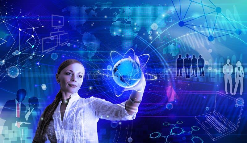 概念性互联网和网络例证 向量例证