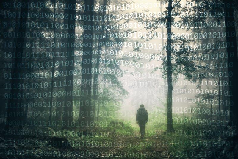 概念性人在森林和二进制数背景里 库存照片