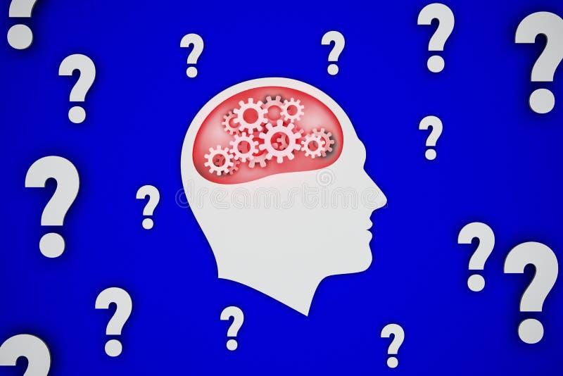 概念性例证,供以人员强烈认为在问题,蓝色背景 库存图片