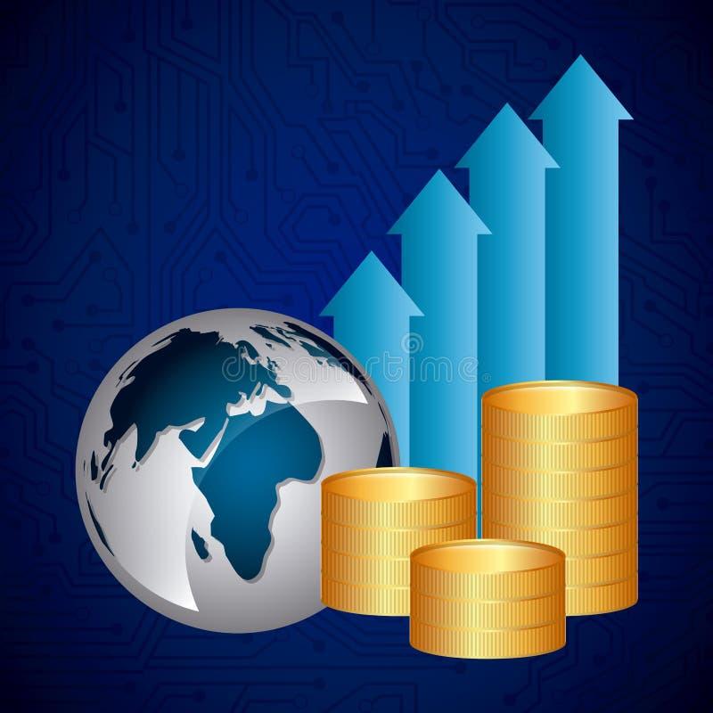 概念性危机经济全球图象猜想世界 向量例证