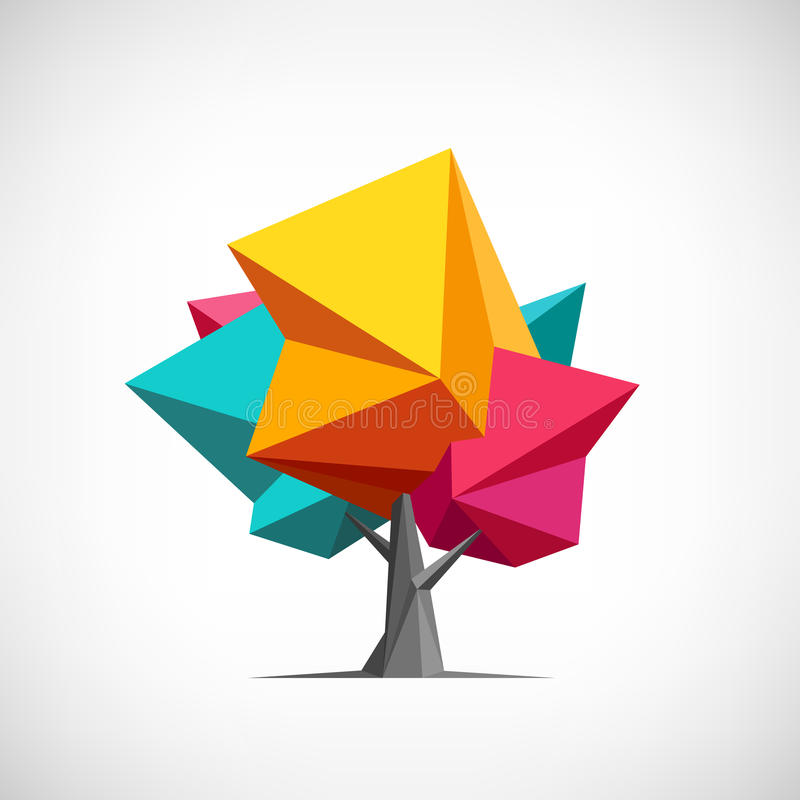 概念性多角形树 抽象向量 向量例证