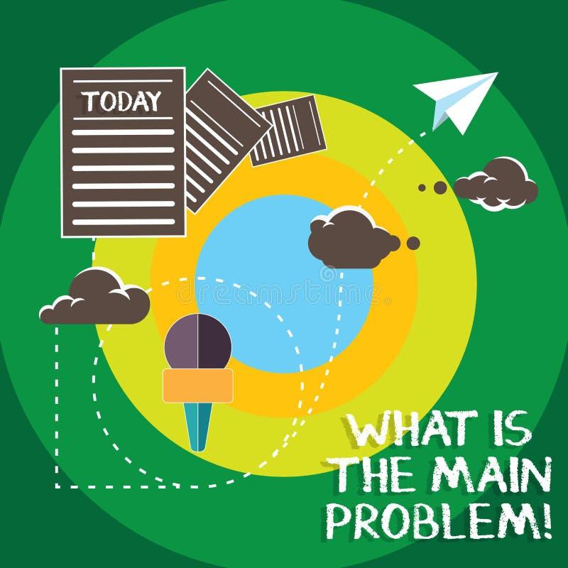 概念性手文字显示什么是主要问题 企业照片文本辨认麻烦的原因修理工作 向量例证