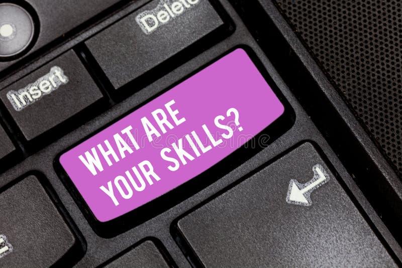 概念性手文字显示什么是您的Skillsquestion 企业照片陈列告诉我们您的能力知识 库存照片