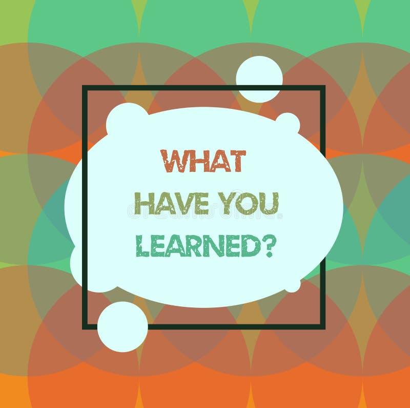 概念性手文字显示什么有您Learnedquestion 企业照片文本告诉我们您的新知识经验 库存例证