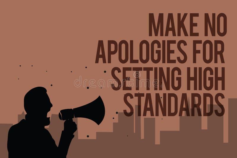概念性手文字陈列不做出为规定高标准的道歉 企业照片文本寻找的质量生产力人 向量例证
