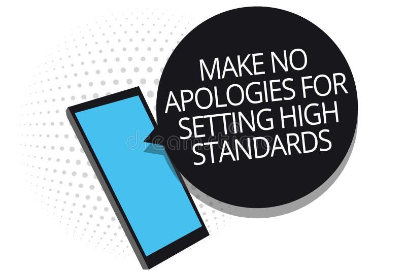 概念性手文字陈列不做出为规定高标准的道歉 企业照片陈列的寻找的质量productivi 库存例证
