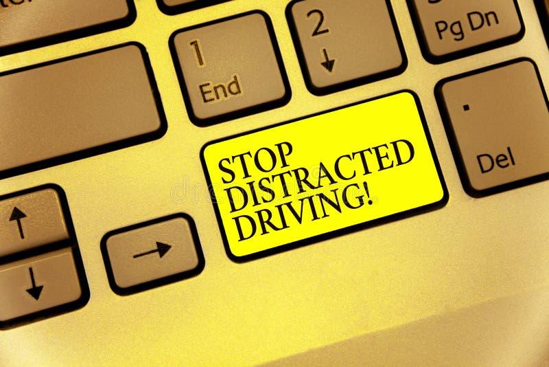 概念性手文字陈列中止分散的驾驶 企业照片陈列的慢要求小心在轮子驱动后 向量例证