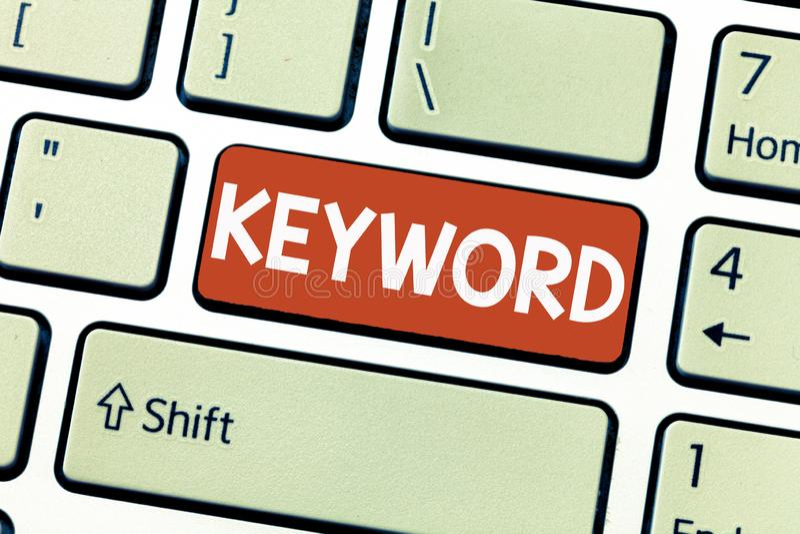 概念性手文字陈列主题词 与伟大意义重要销售的strate的企业照片陈列的词概念 库存照片
