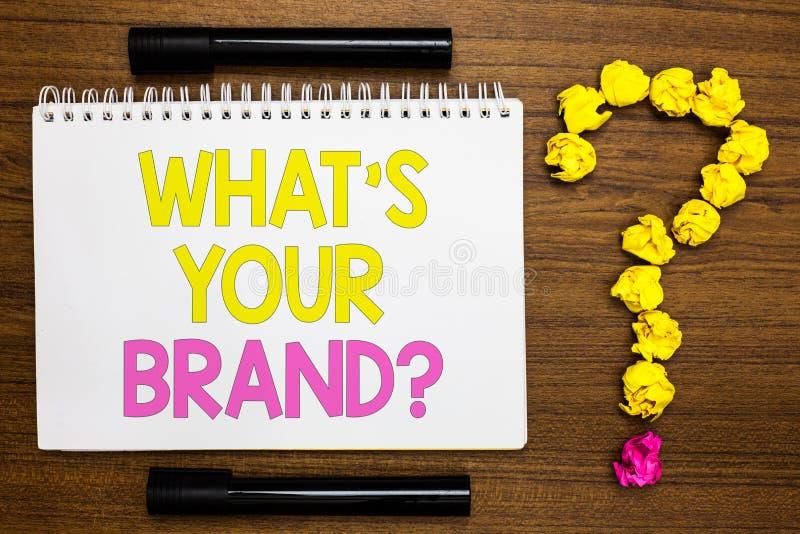 概念性手文字陈列什么s是您的品牌问题 企业照片陈列定义了单独商标辨认Comp 库存照片
