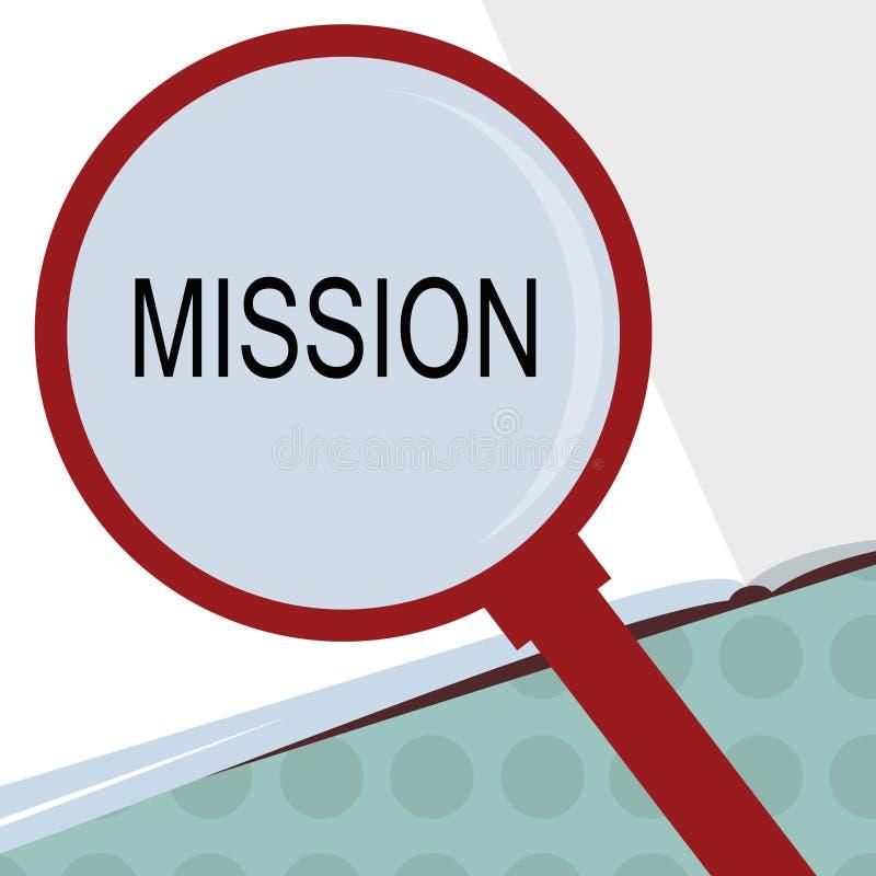 概念性手文字陈列使命 企业照片文本公司目标重要任务营业目的和 库存例证