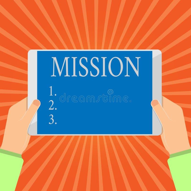 概念性手文字陈列使命 陈列公司目标重要任务营业目的企业照片 库存例证