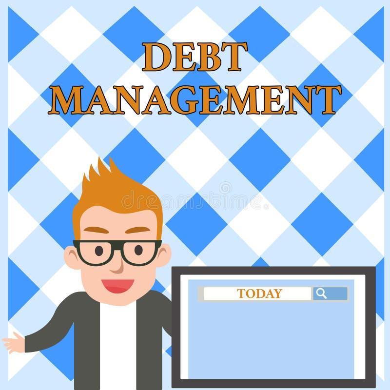 概念性手文字陈列债务管理 企业照片文本在债家之间的正式协议和  皇族释放例证