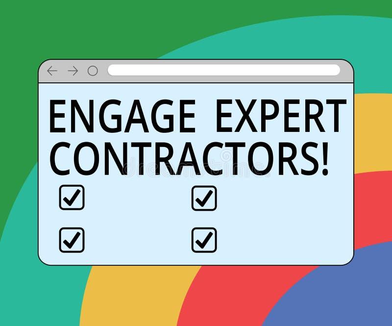 概念性手文字陈列允诺专家的承包商 企业照片文本聘用的熟练的outworkers短时间运作 向量例证