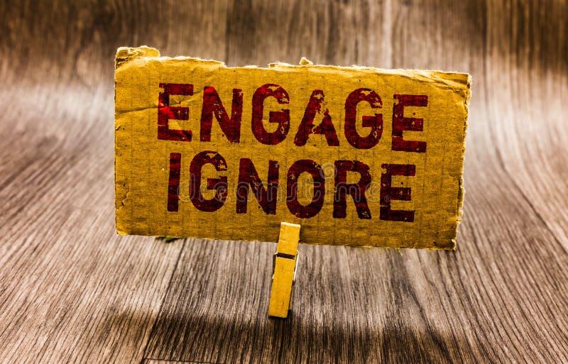 概念性手文字陈列允诺忽略 企业照片文本沉默对待操纵处罚生气的避开的纸 库存图片